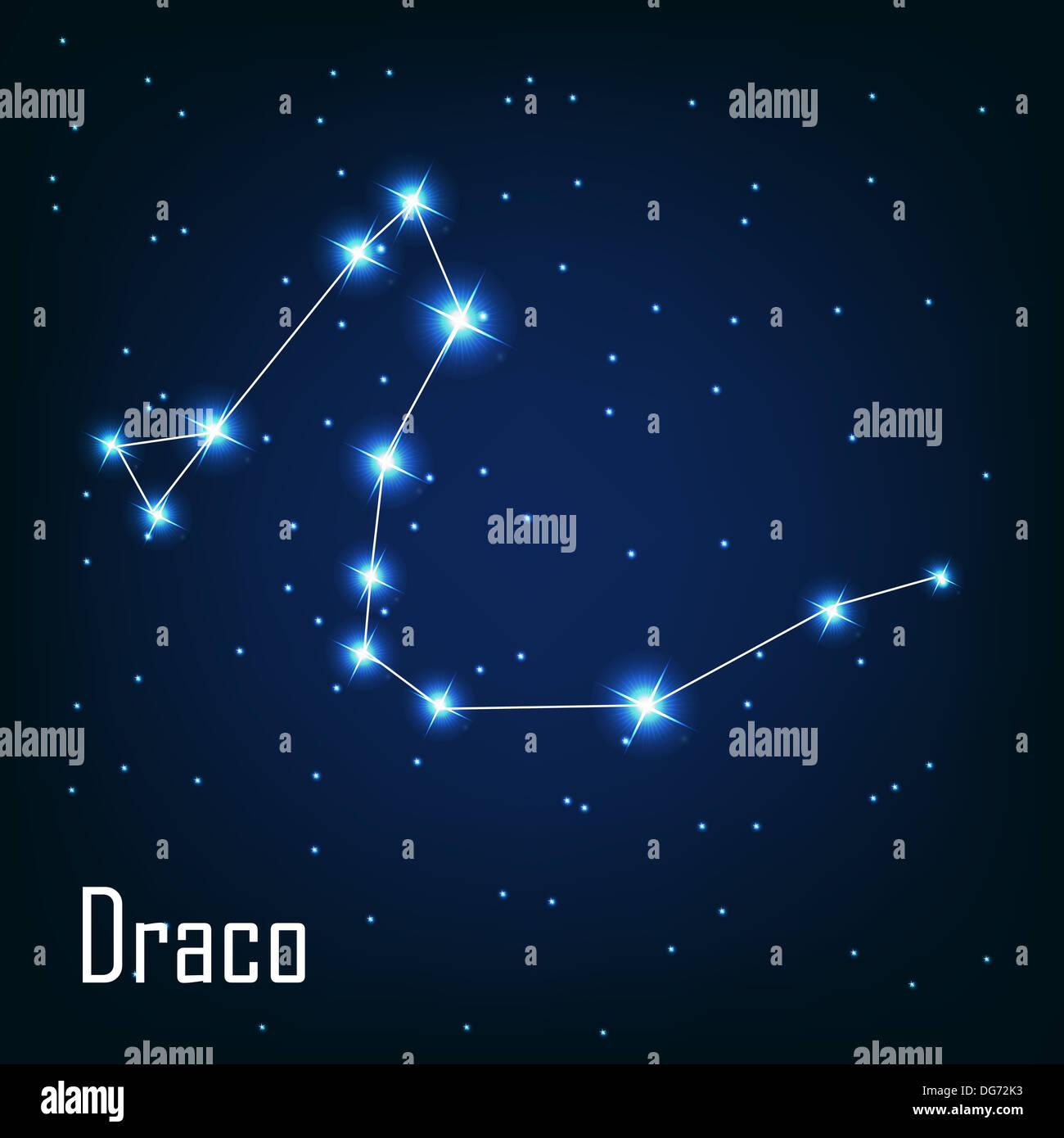 The constellation ' Draco' star in the night sky. Vector illustr - Stock Image