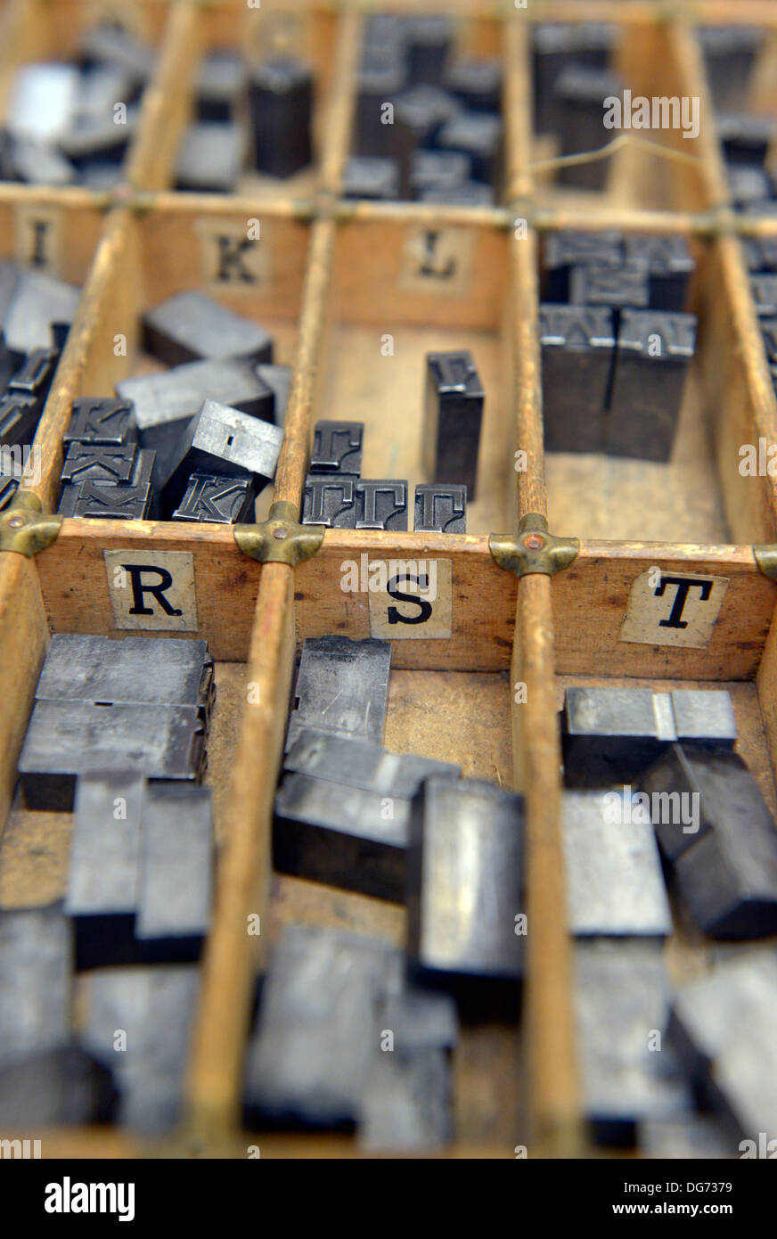 Old fashioned typesetting printing. - Stock Image