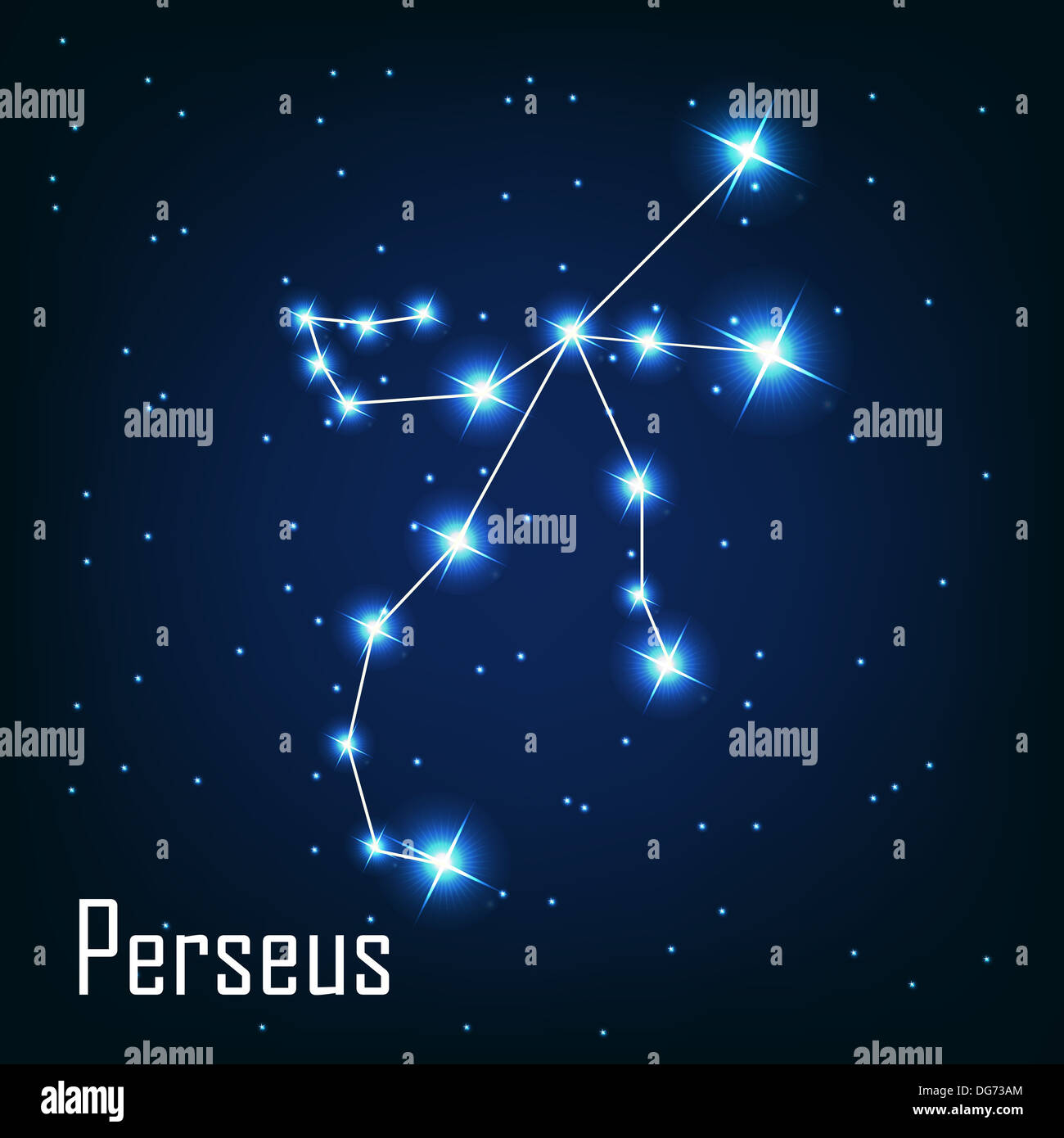 The constellation ' Perseus' star in the night sky. Vector illus - Stock Image