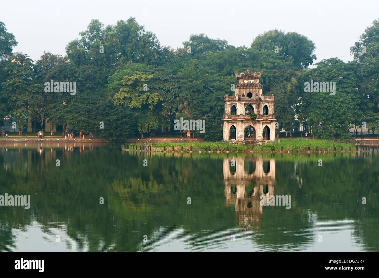 Reflection of Turtle Tower at the Hoan Kiem Lake in the morning, in Hanoi, Vietnam. - Stock Image