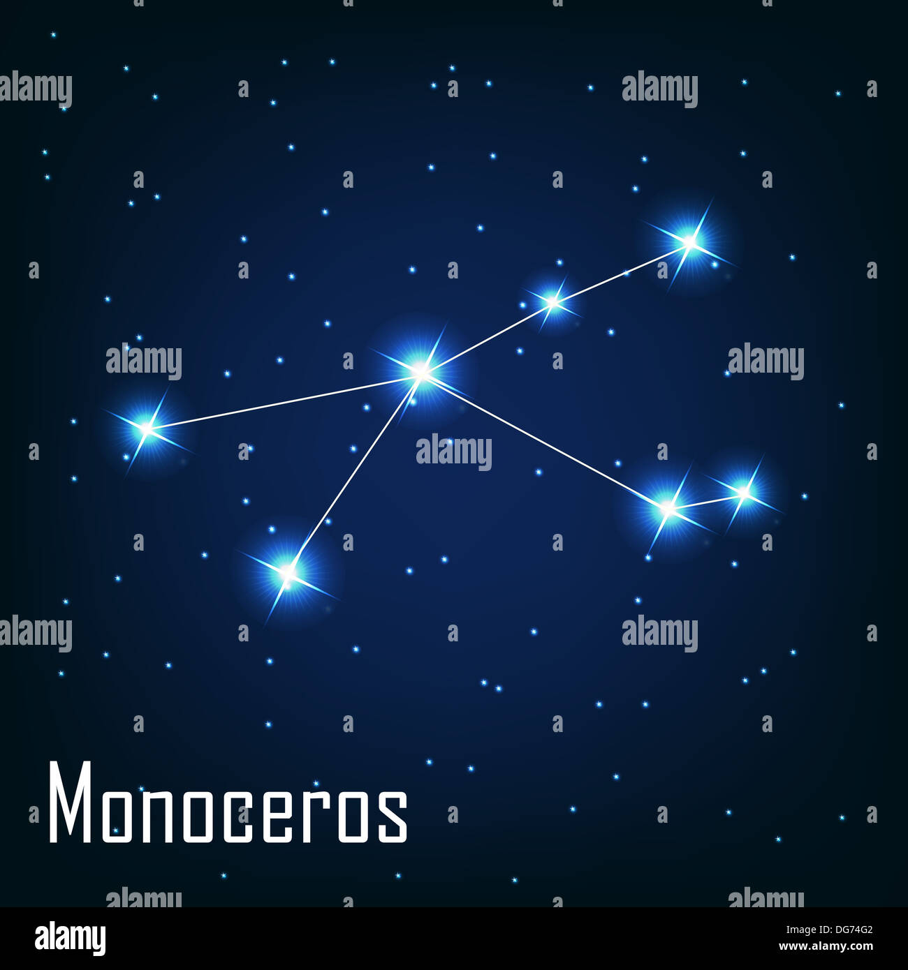 The constellation ' Monoceros' star in the night sky. Vector ill - Stock Image