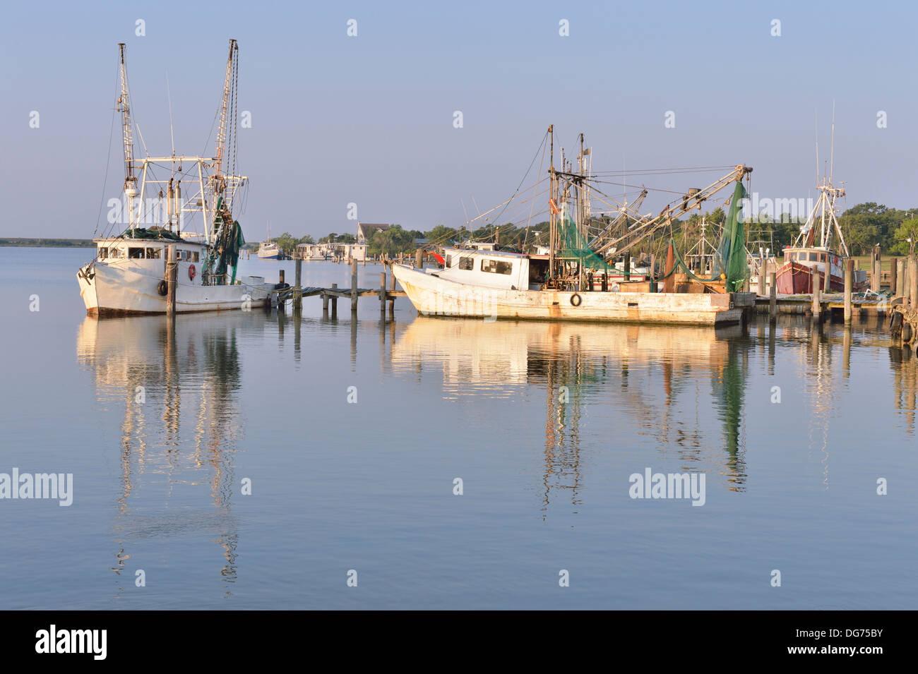 Shrimp boats on the Dickinson Bayou, Texas, USA - Stock Image