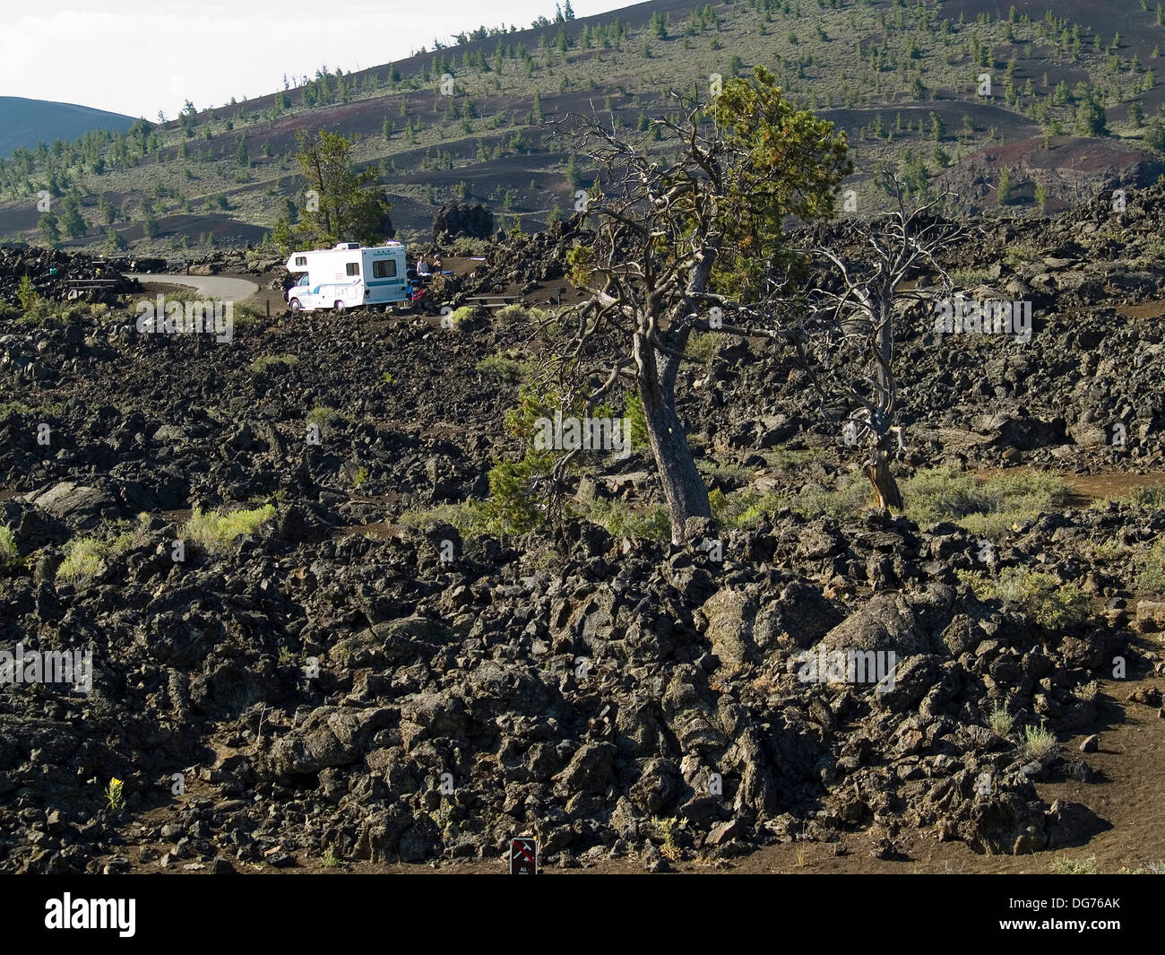 Motorhome in the lava fields of Craters of The Moon National Monument,Idaho - Stock Image