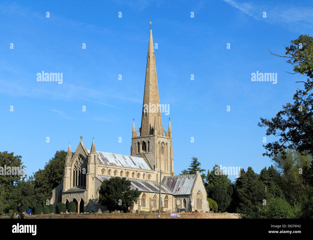Snettisham, Norfolk, parish church with spire English medieval village churches spires England UK - Stock Image