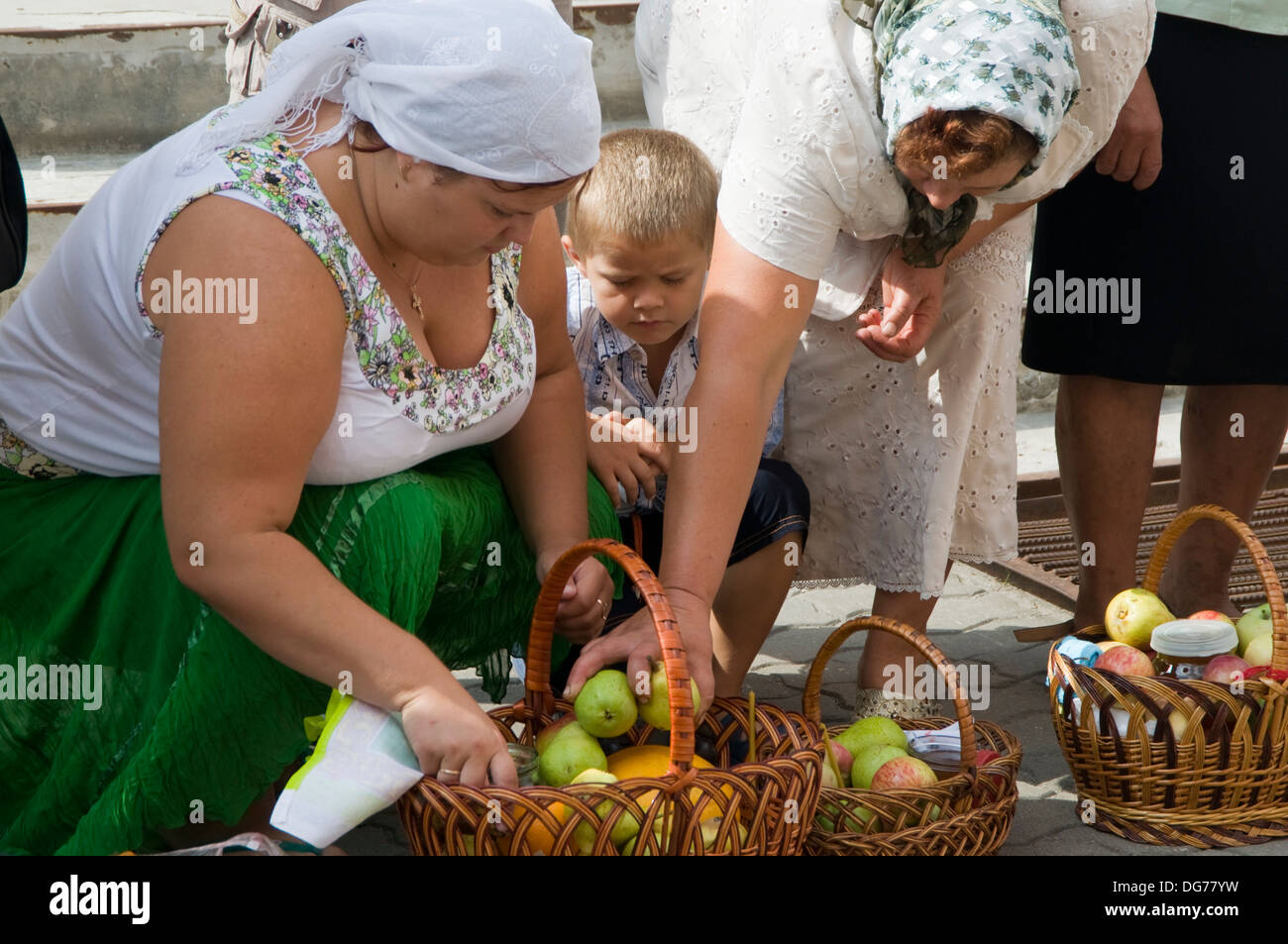 Ukraine, Borispol, church of sveti Boris and Gleb, donation for the blessing. - Stock Image
