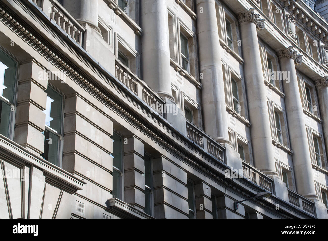 A close up of the architectural features of a classical building in Finsbury Circus, London, UK - Stock Image