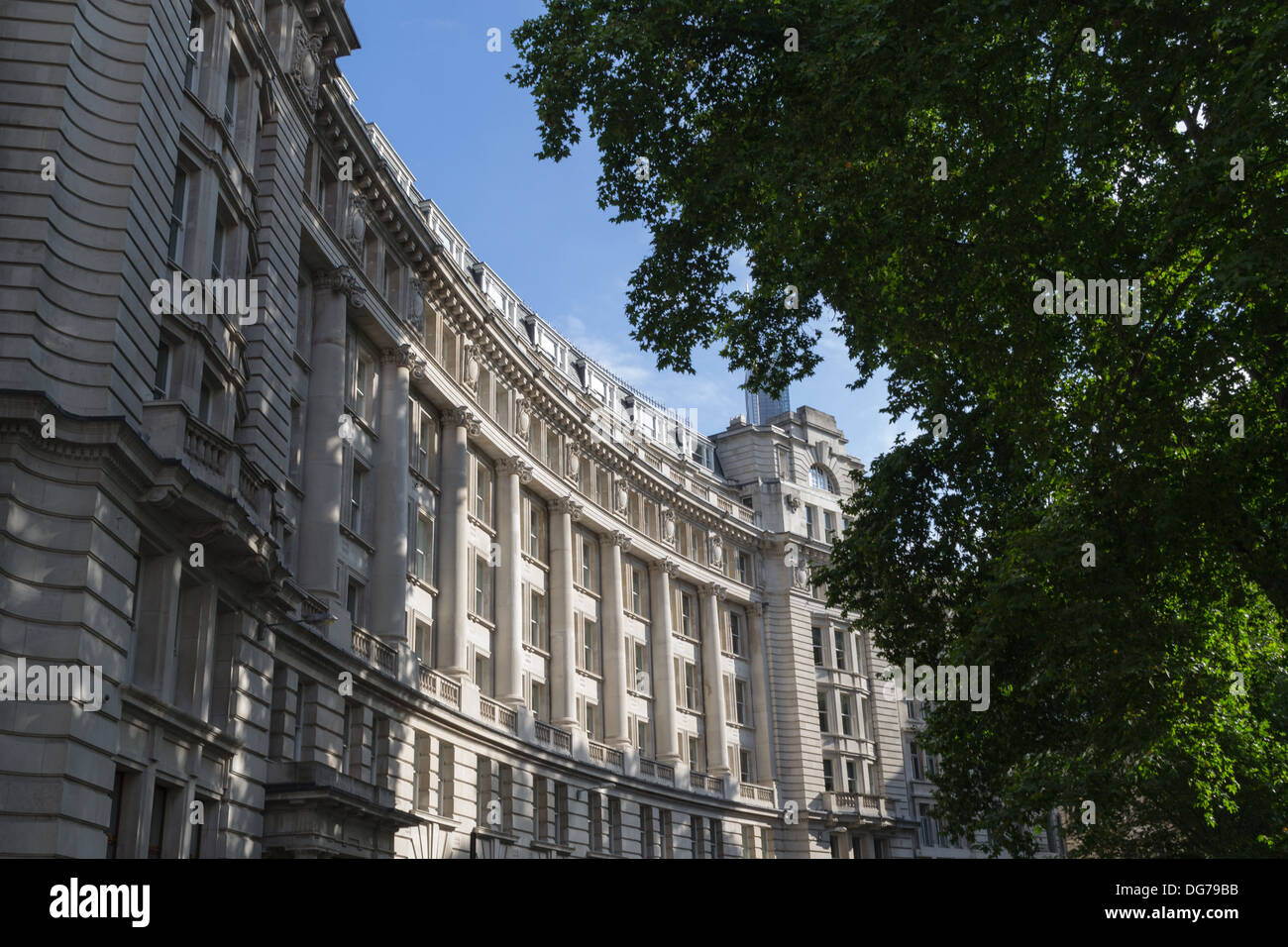The curve of a typical classical architecture style building in Finsbury Circus, London, UK - Stock Image