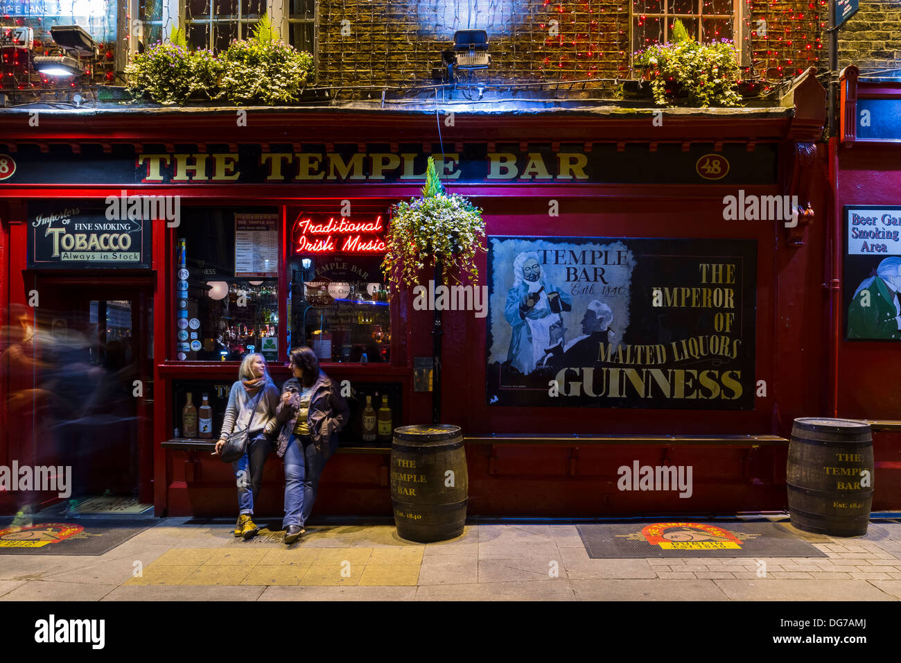 Dublin, Ireland - October 14, 2013: A traditional Irish pub called The Temple Bar on one the street by the same name of Temple B - Stock Image