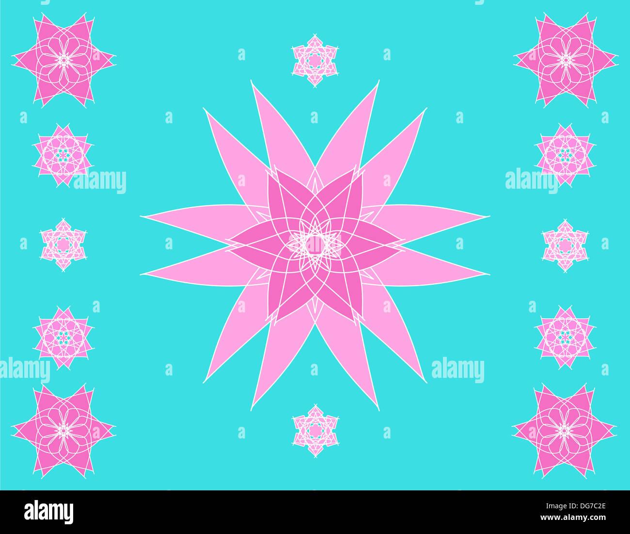 Artistic pink mandala pattern on blue Stock Photo
