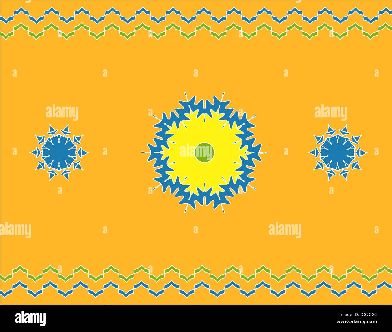 Artistic mandala pattern with border on orange Stock Photo