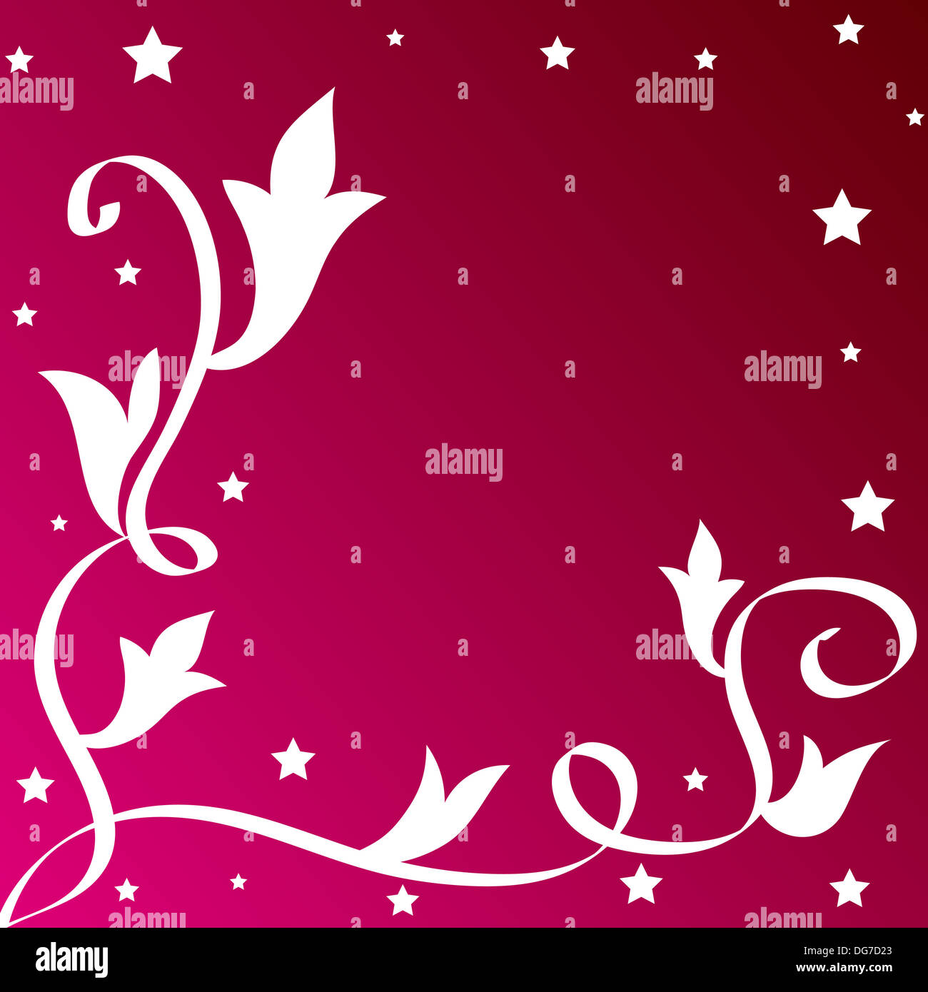 Leaves and stars border on pink Stock Photo