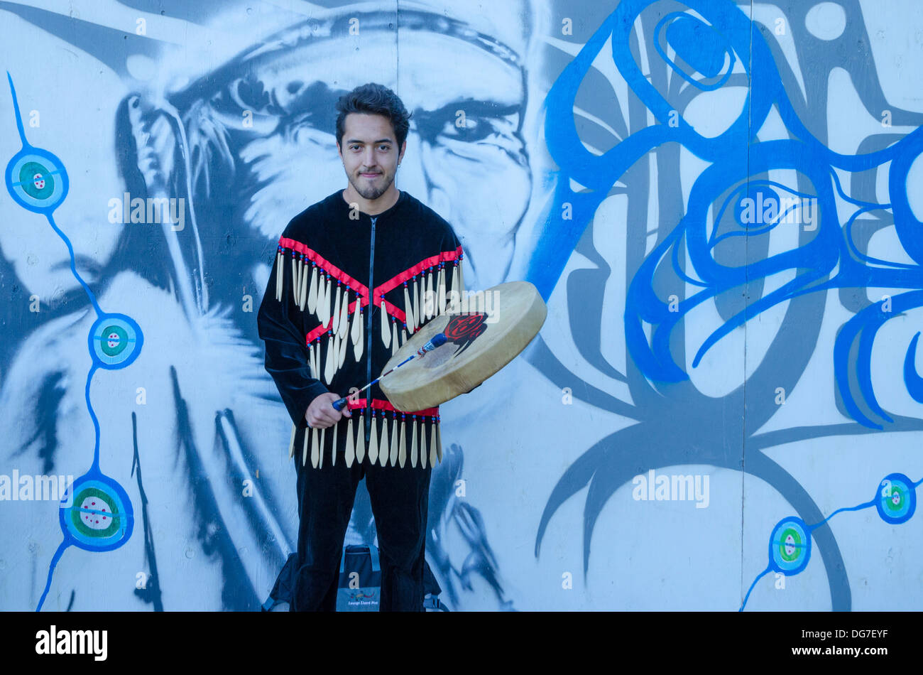 Drummer with The Children of Takaya Coast Salish group - Stock Image