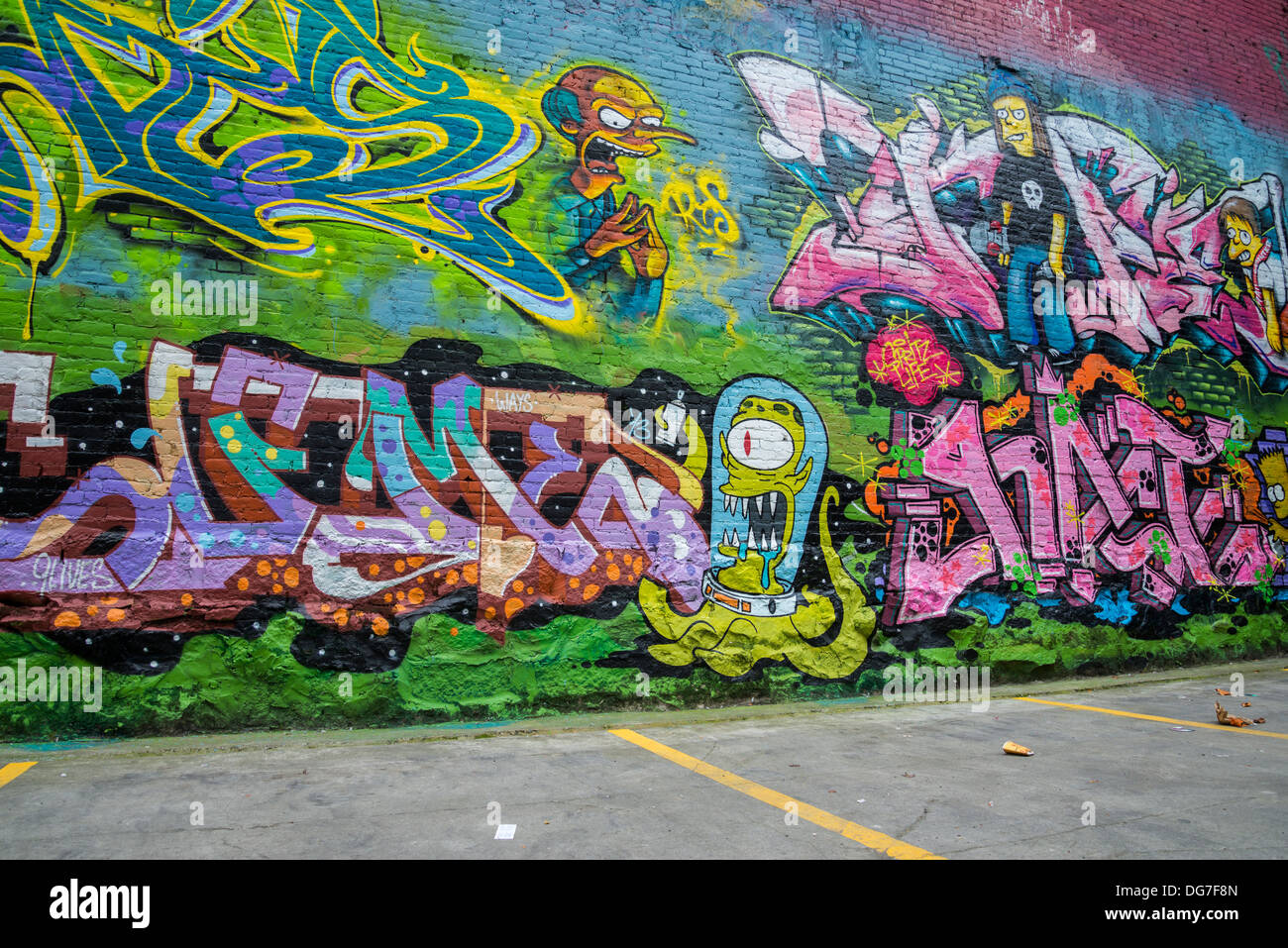 Simpsons themed , graffiti style mural, DTES, Vancouver, Britsih Columbia, Canada - Stock Image