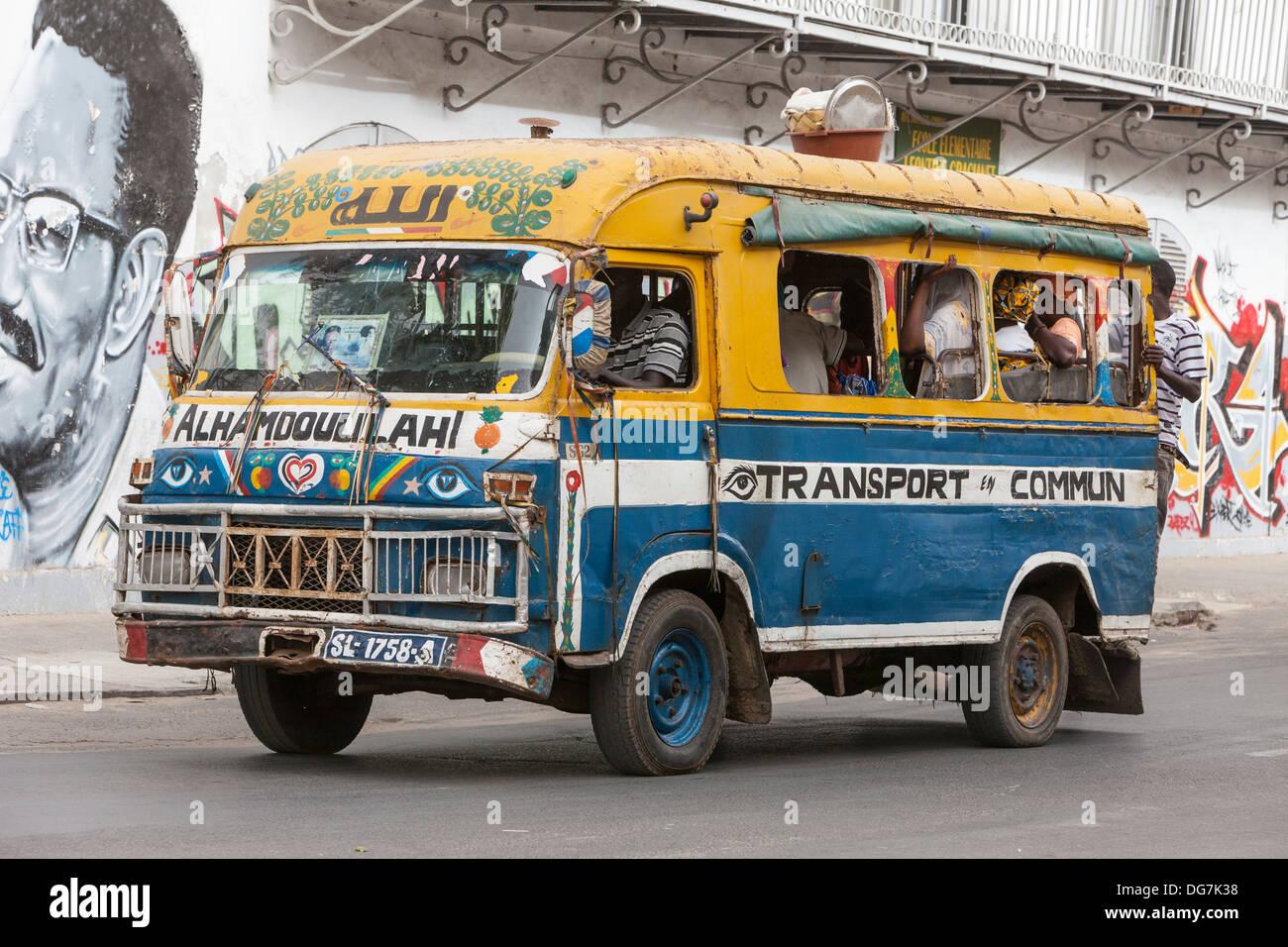 Senegal, Saint Louis. Local Bus Transport. - Stock Image