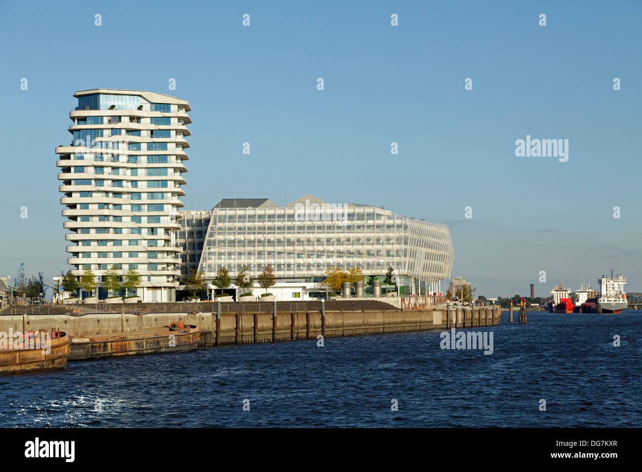 Marco-Polo-Tower and Unilever House, Harbor City Hamburg, Germany Stock Photo