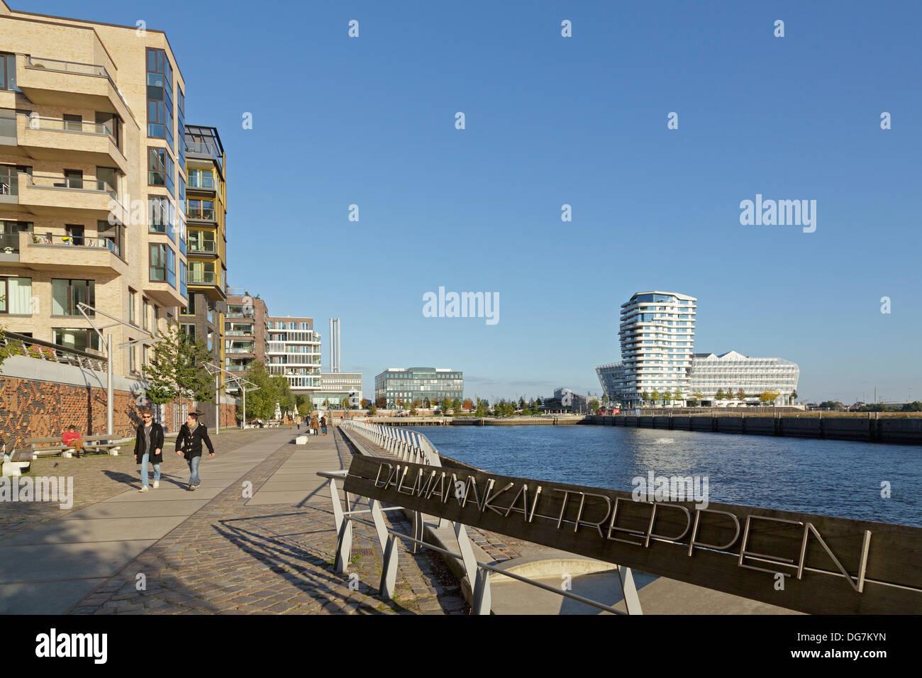 Dalmannkai, Marco-Polo-Tower and Unilever House, Harbor City Hamburg, Germany - Stock Image