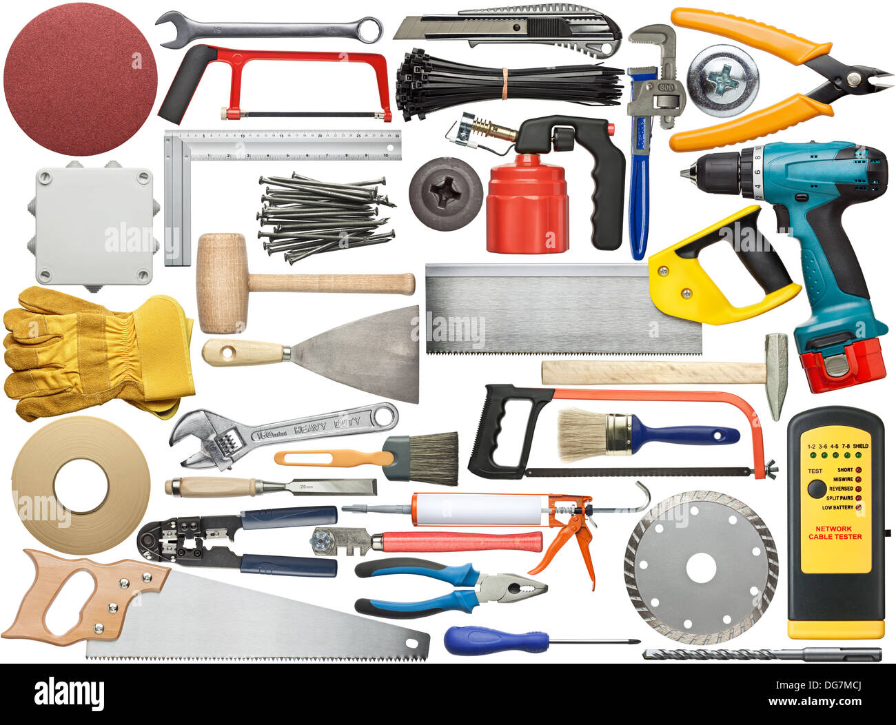 Tools for wood, metal and other construction work. - Stock Image