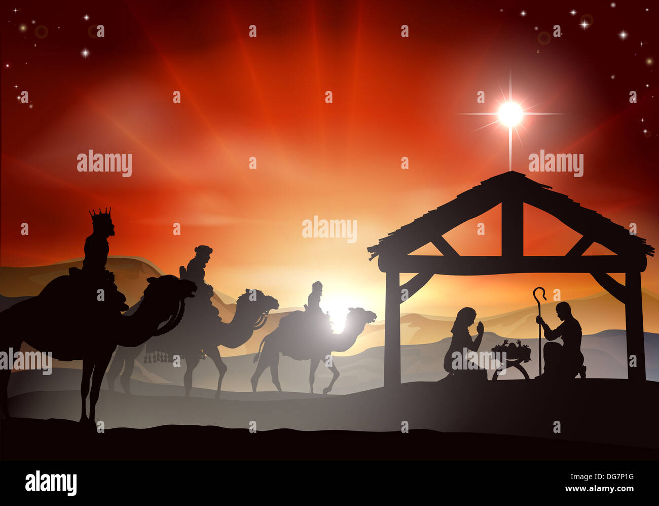 christmas nativity scene with baby jesus in the manger in silhouette