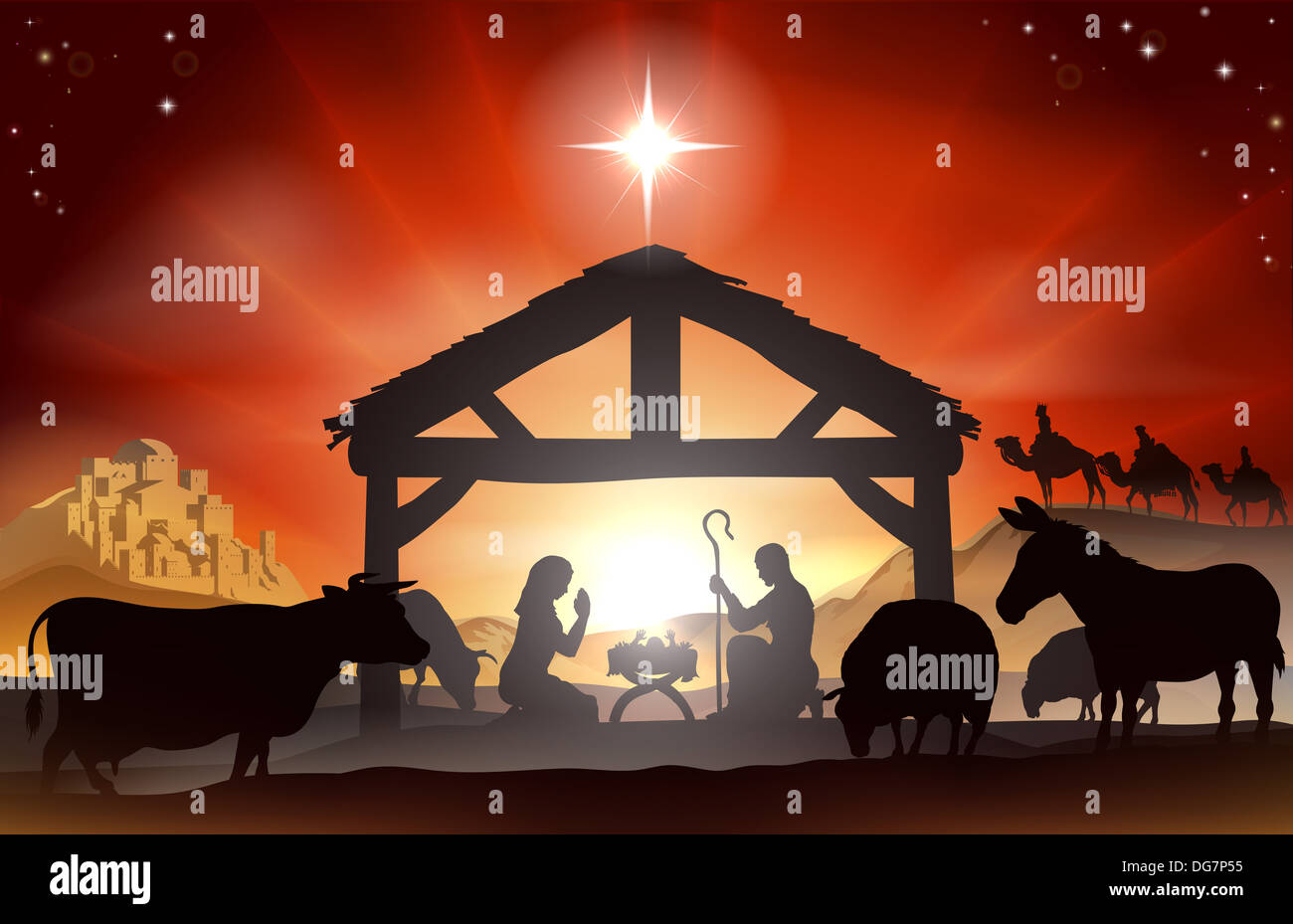 christmas christian nativity scene with baby jesus in manger in