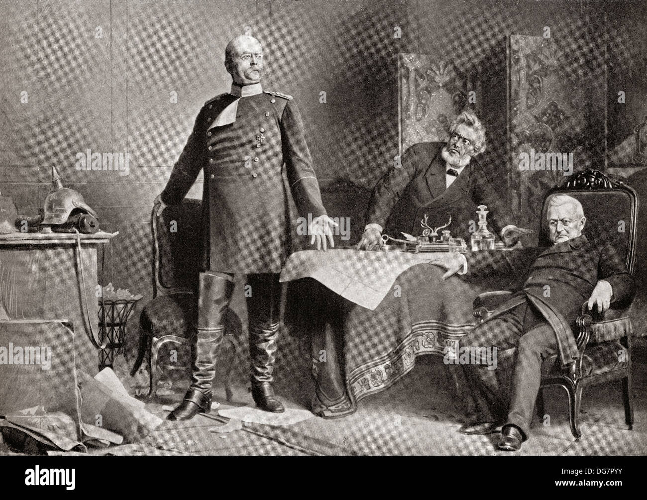 Otto von Bismarck, left, and Adolphe Thiers, seated far right, at the Palace of Versailles, France, 1871. - Stock Image