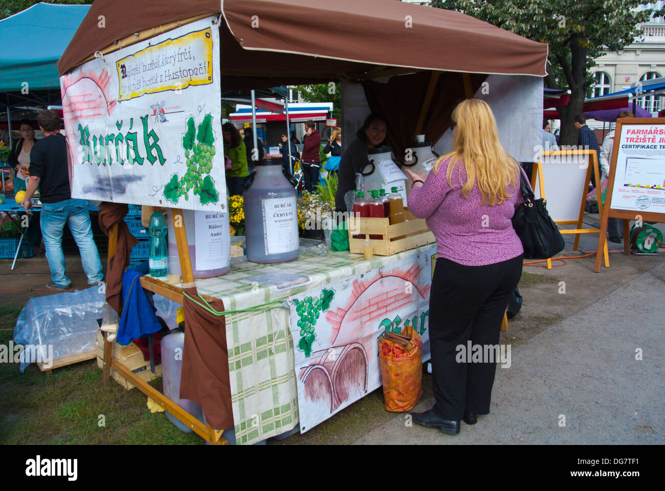 Burcak stall at wine festival Jiriho z Podebrad square Zizkov district Prague Czech Republic Europe - Stock Image
