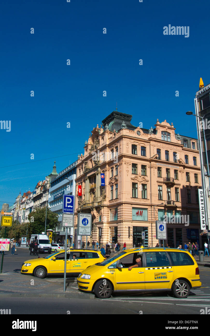 Fair place taxi stand with AAA company cars Vaclavske namesti the Wenceslas square central Prague Czech Republic Stock Photo