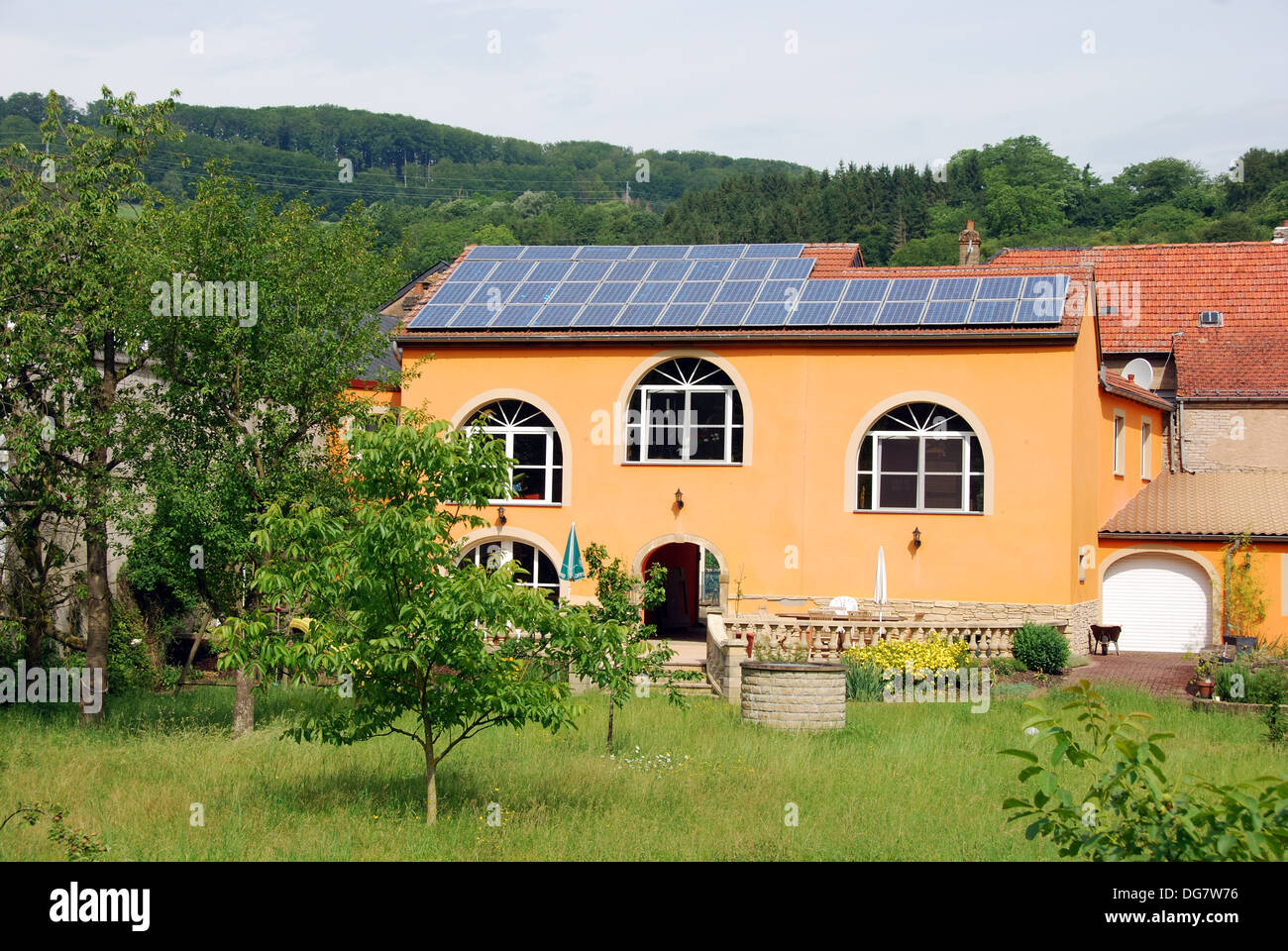 House with roof of solar panels, Luxembourg, Europe - Stock Image