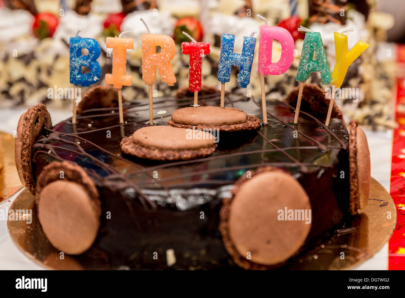 Beautifully Decorated Chocolate Birthday Cake With Candles Stock