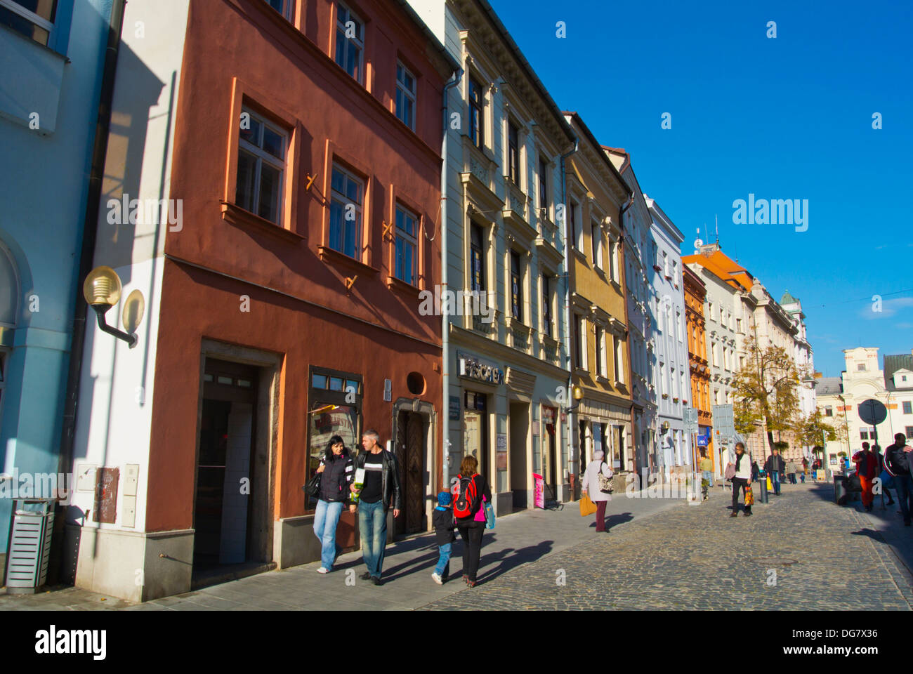 Benesova pedestrian street leads up to the main square in old town Jihlava city Vysocina region Moravia central Czech Republic - Stock Image