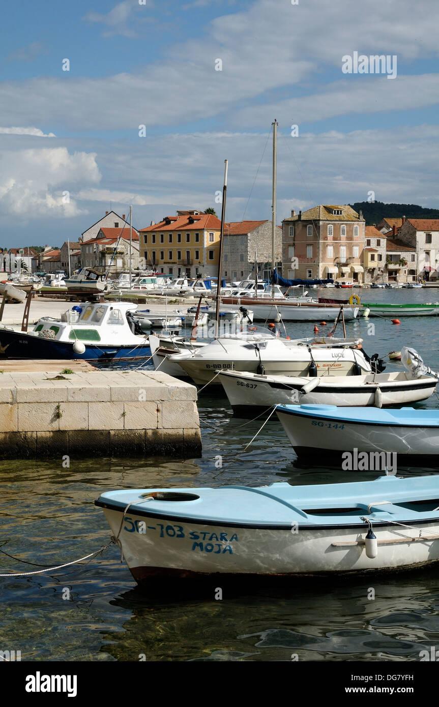 Croatia, Hvar island, Stari Grad  Fishing boats in harbour - Stock Image