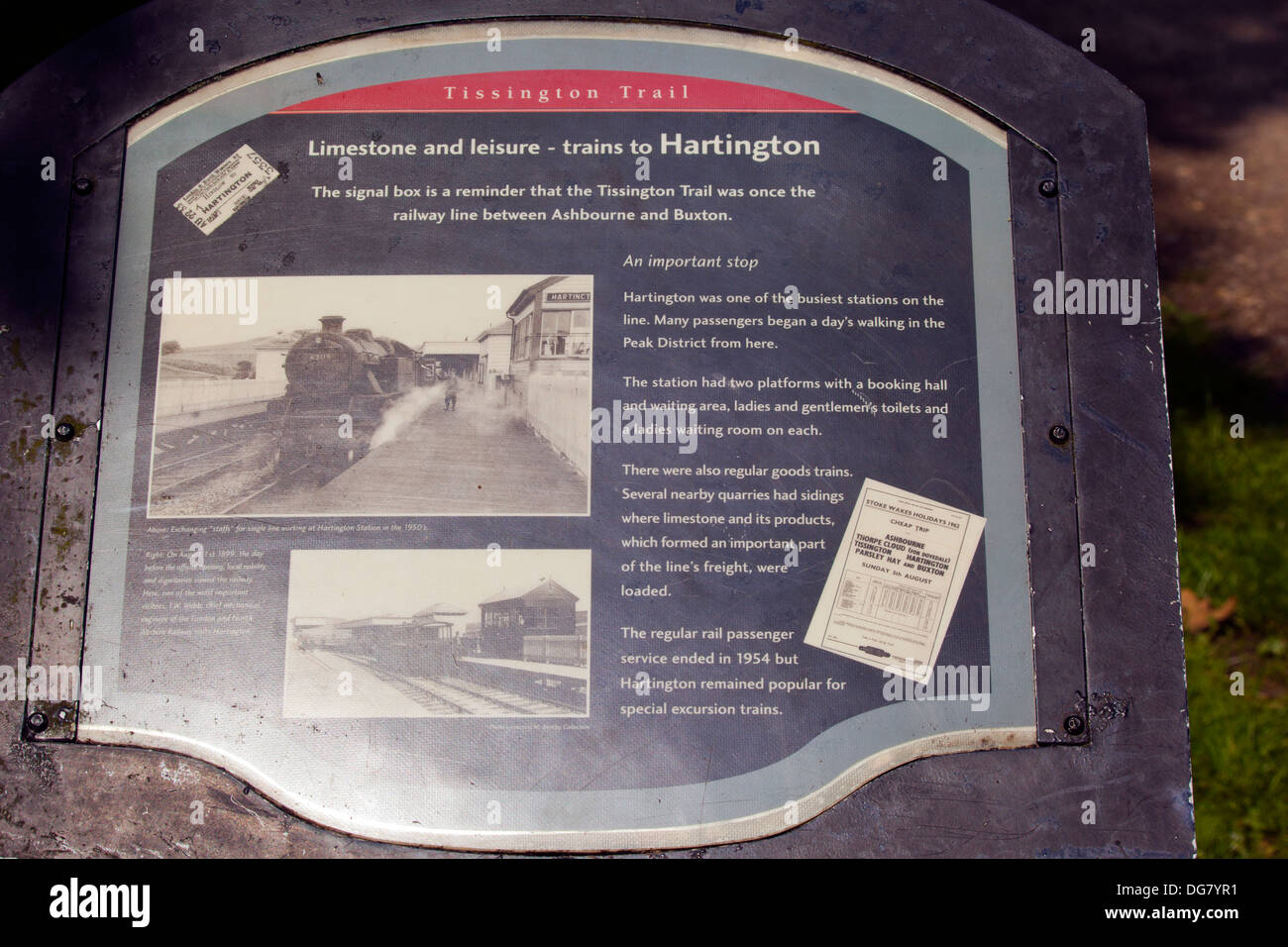 Information Board at Hartington on the Tissington Trail - Stock Image