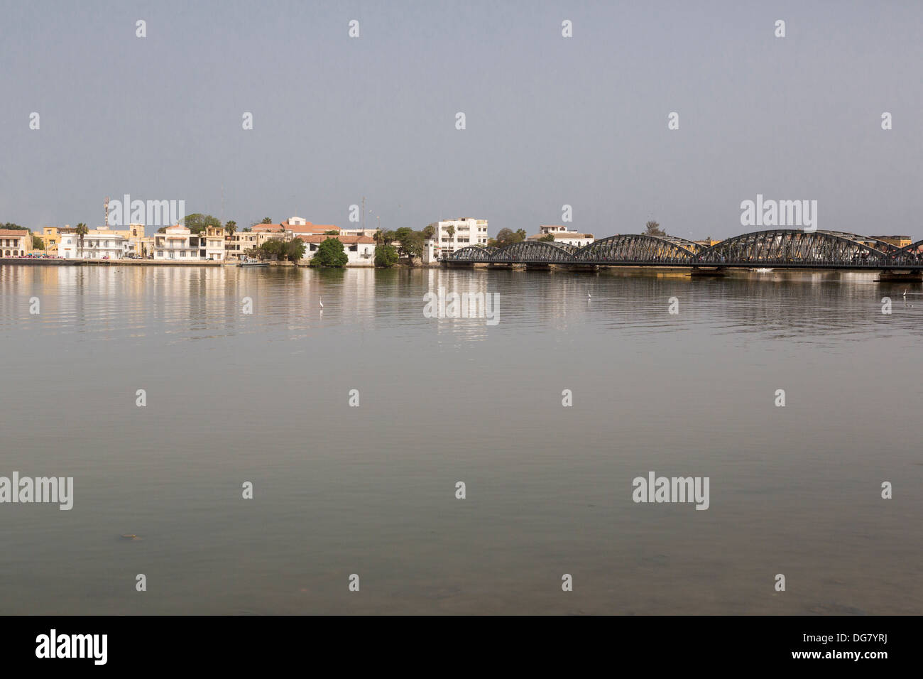Senegal, Saint Louis. View from the Mainland, across the River Senegal, showing Pont Faidherbe, built 1897. Stock Photo