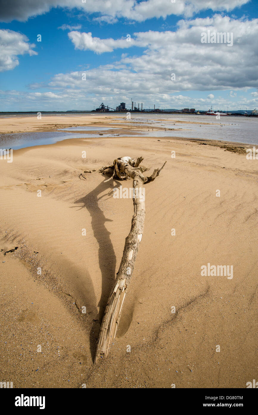 Redcar Steelworks (SSI) from North Gare Sands, Hartlepool - Stock Image