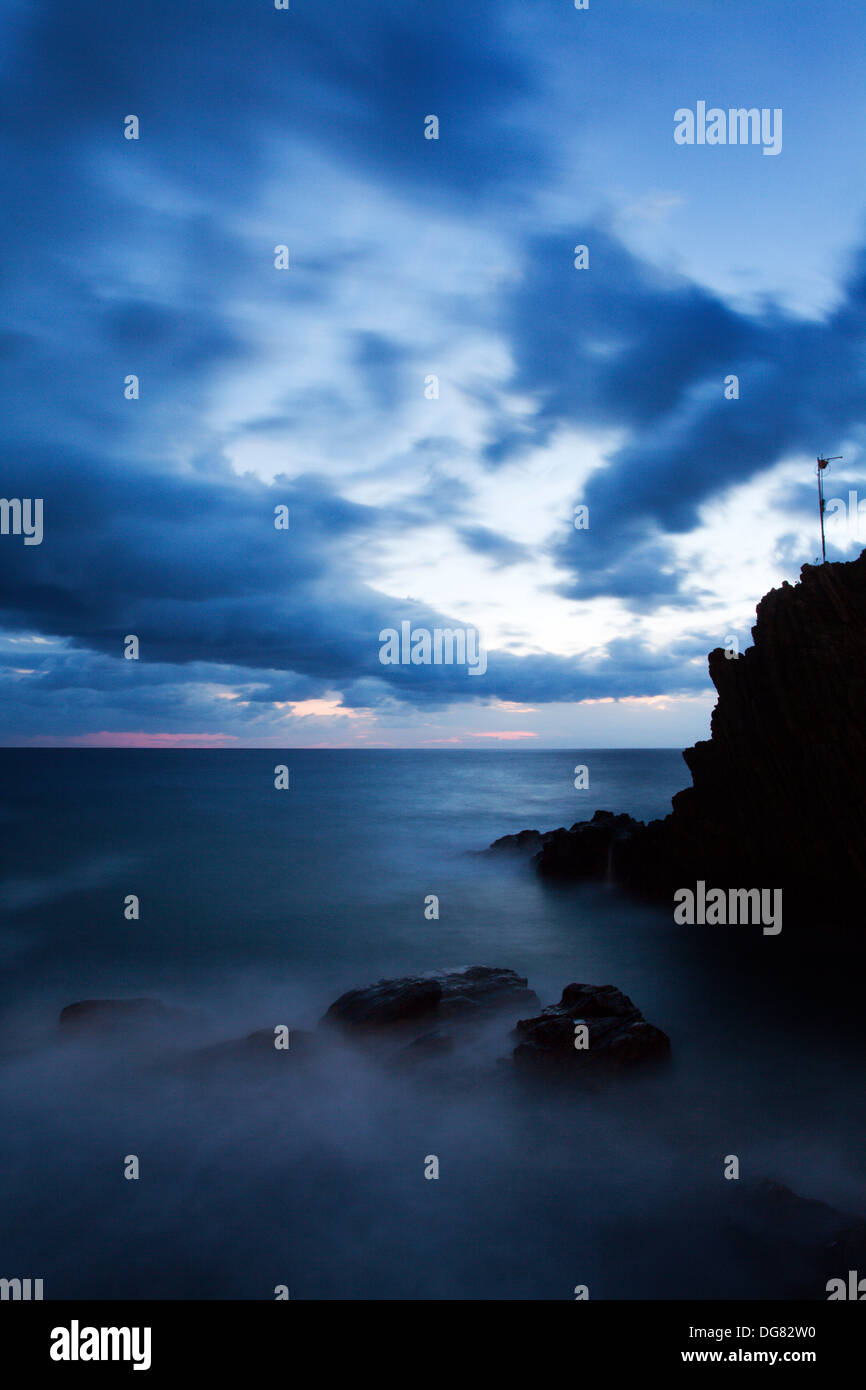Twilight Seascape from Riomaggiore Cinque Terre Liguria Italy - Stock Image