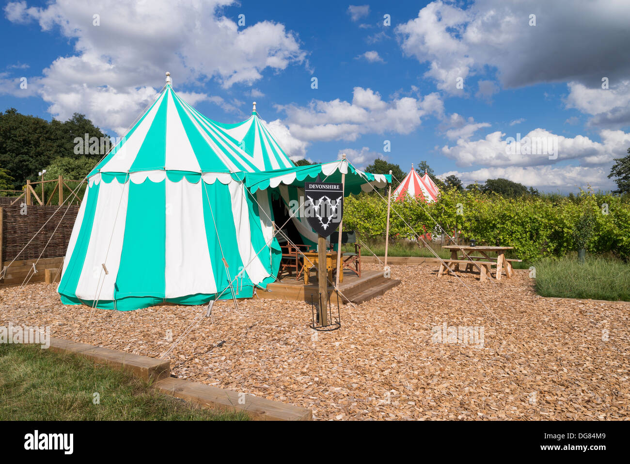 Glamping at Leeds Castle, Kent - Stock Image