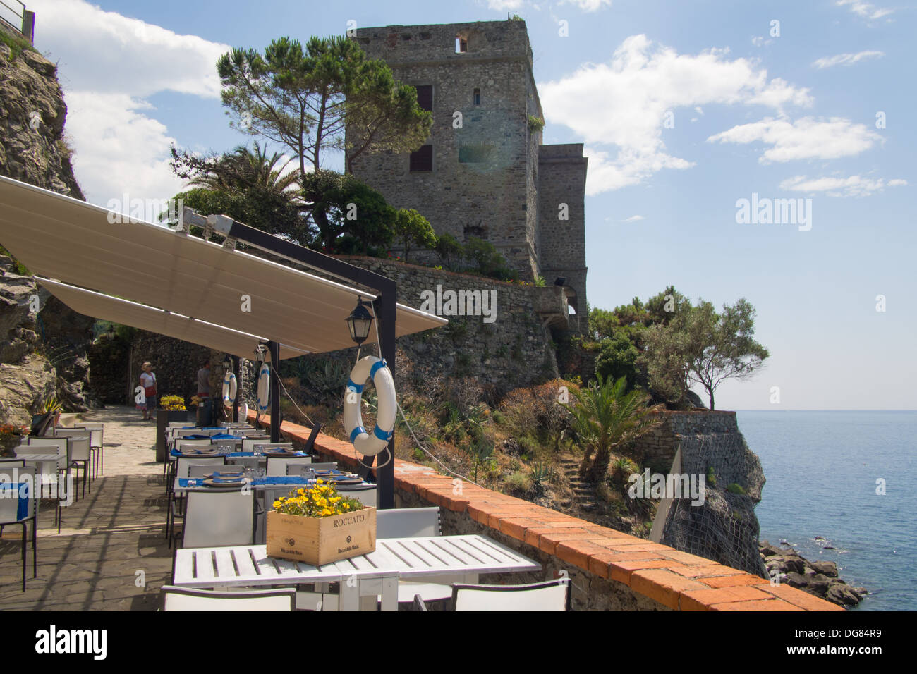 Restaurant at Monterosso al Mare, Cinque Terre (National Park & Unesco World Heritage Site), Liguria, Italy Stock Photo