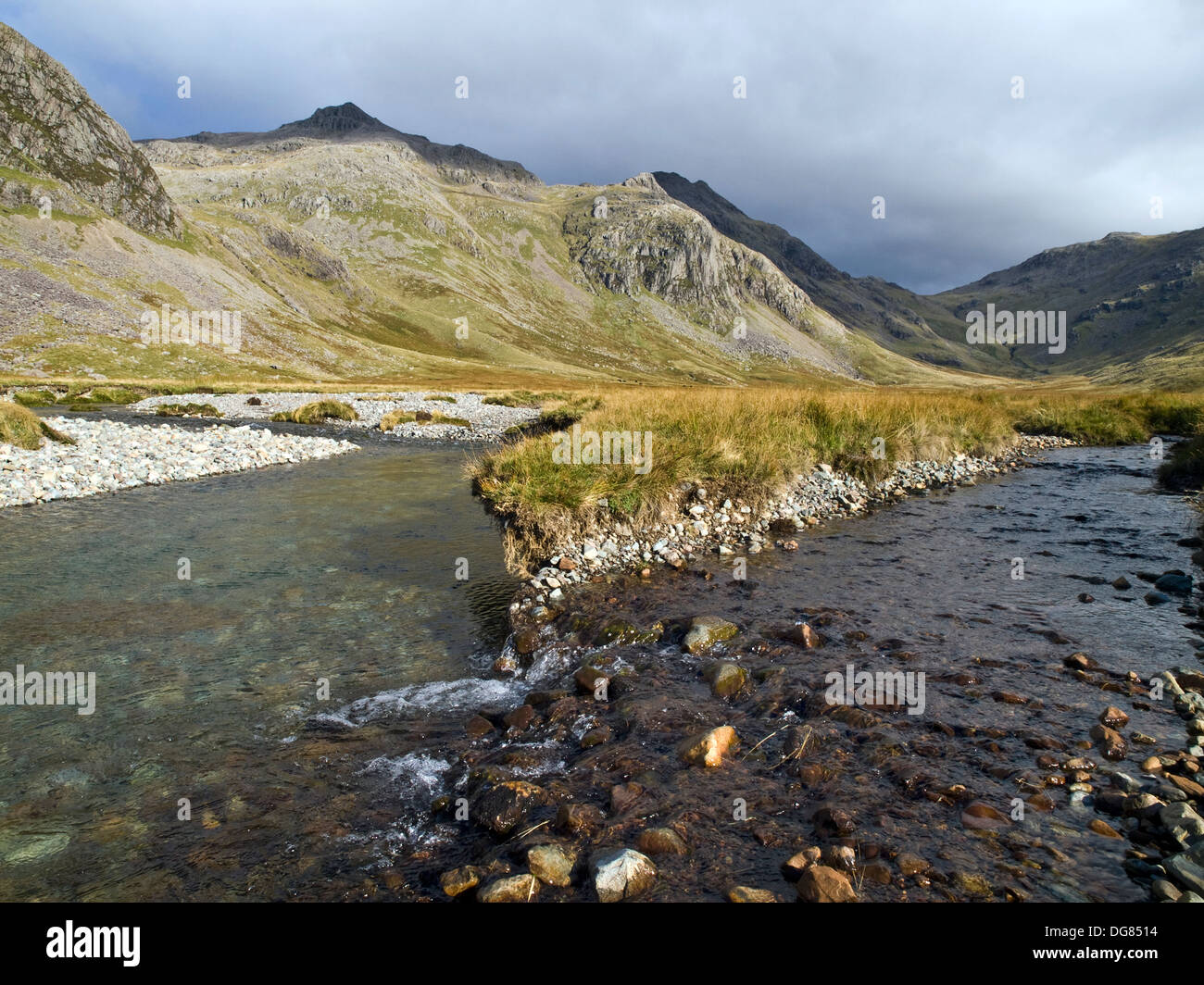 River Esk on Great Moss in Upper Eskdale in the Lake District mountains, Cumbria UK - Stock Image