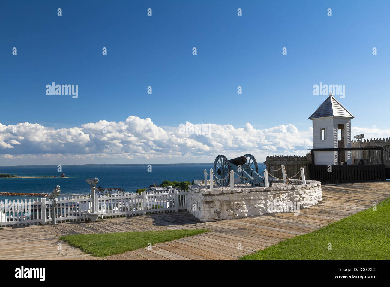 Looking from Fort Mackinac on Mackinac Island out into the Straits of Mackinac. There is canon and a look out tower. Stock Photo