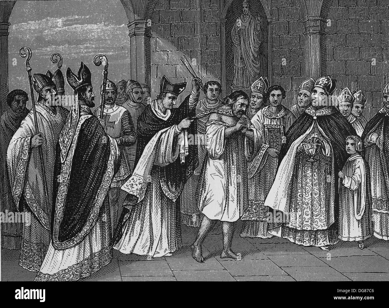 Middle Ages. Clerical punishment of French princes in the 13th century. Engraving - Stock Image