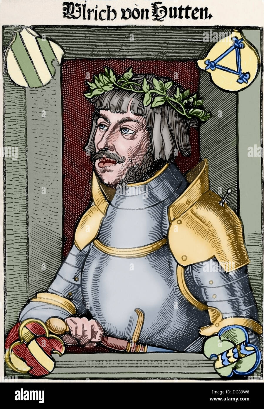Ulrich von Hutten (1488-1523). German writer and theologian. Engraving. Colored. Stock Photo
