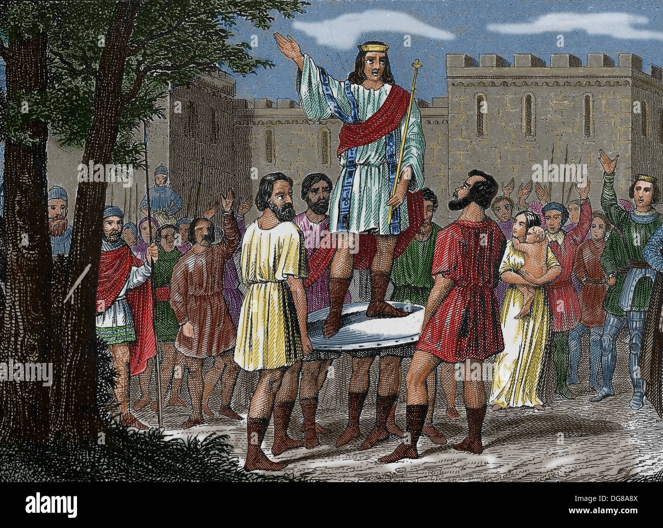 Early Middle Ages. Election of commander. Engraving. (Later colouration). - Stock Image