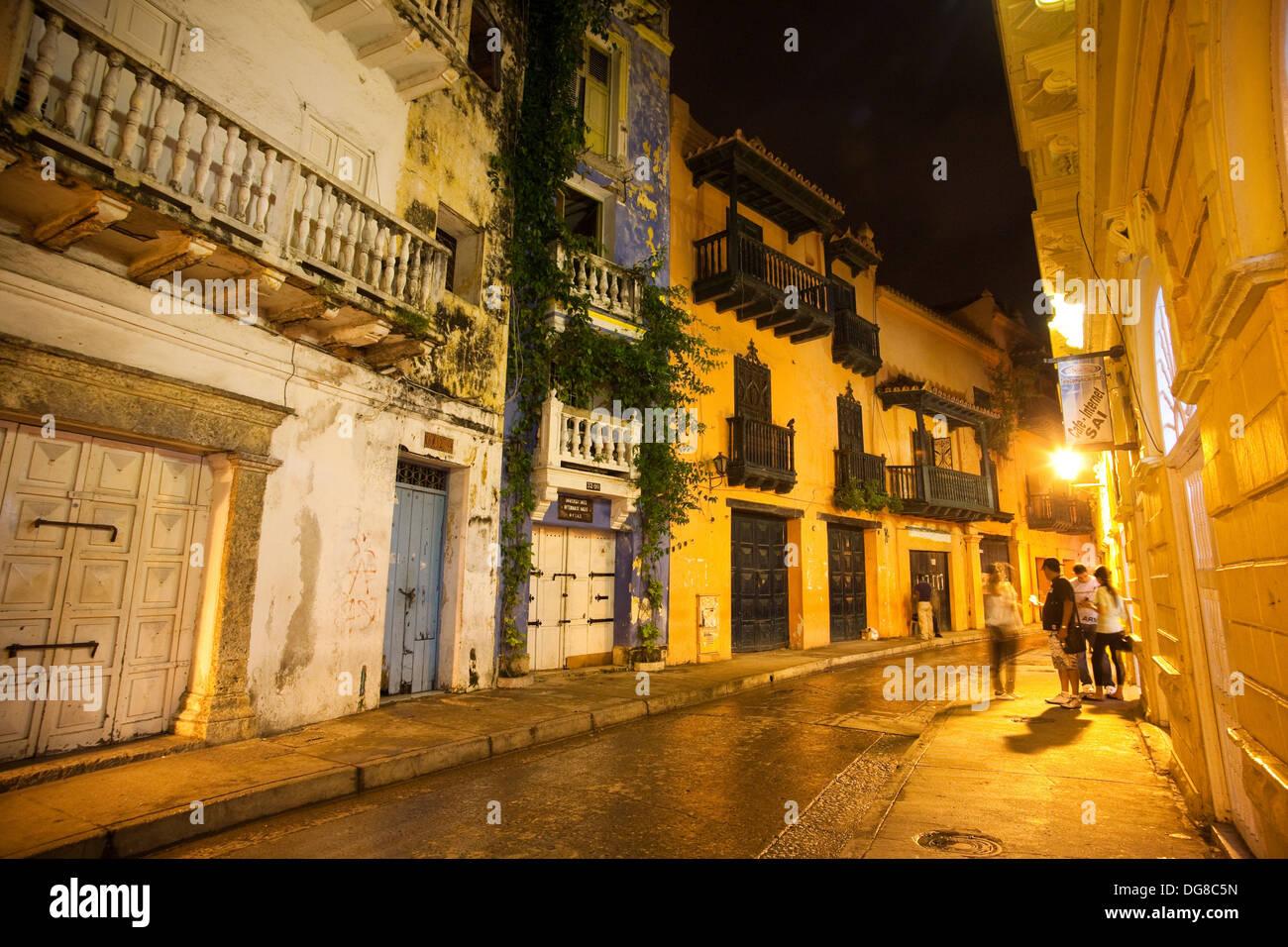 Nightime in Cartagena de Indias, Colombia - Stock Image