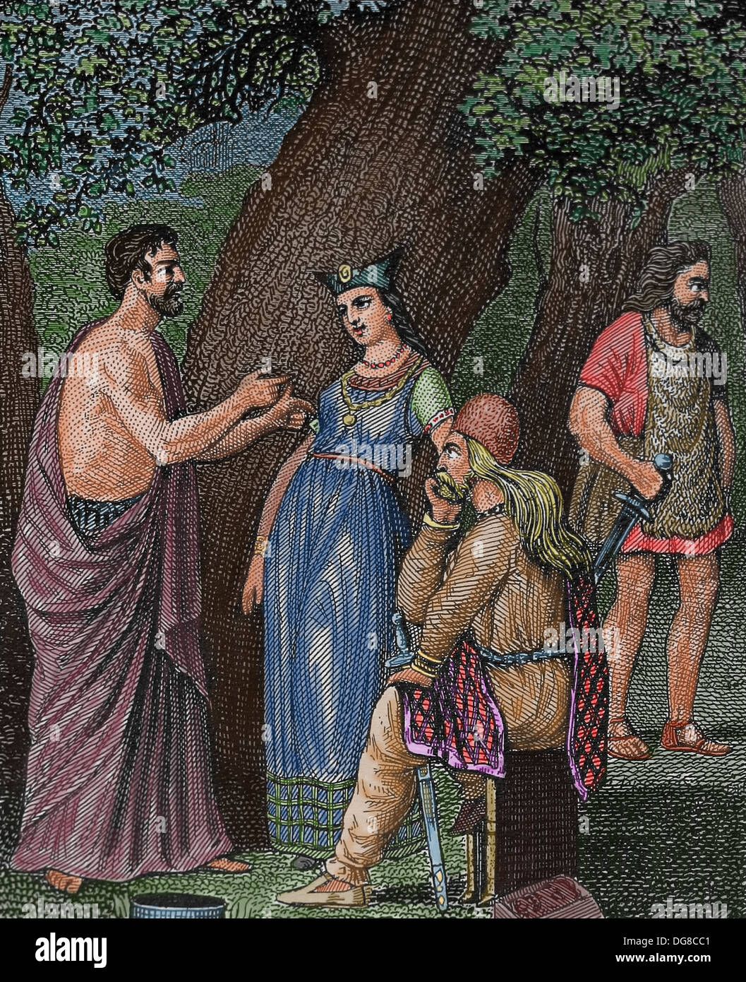 Celtic Tribes. Gaul. Gallia Celtica. Engraving. (Later colouration) - Stock Image