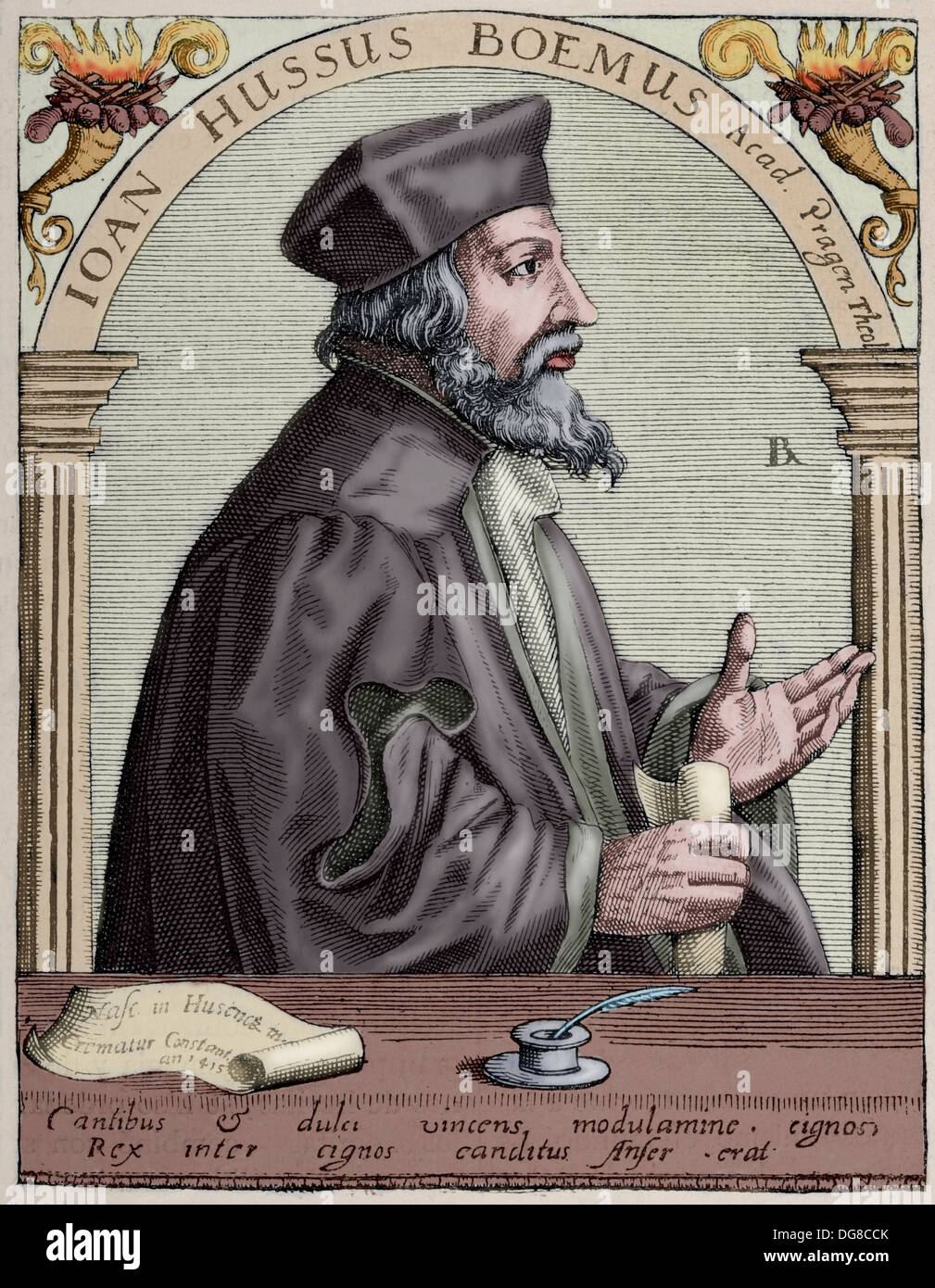 Jan Hus (1369-1415). Czech priest, philosopher and reformer. Engraving. Colored. - Stock Image