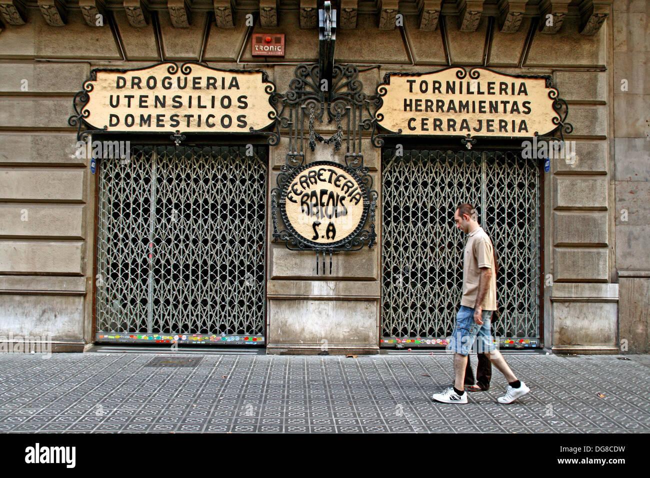 Hardware, drugstore, fasteners, Barcelona, Catalonia, Spain. - Stock Image