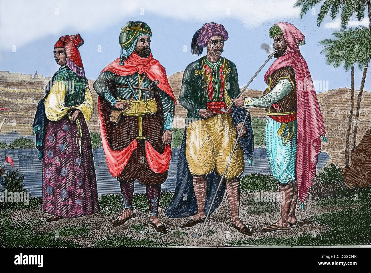 north africa moorish noble and merchant colored engraving stock