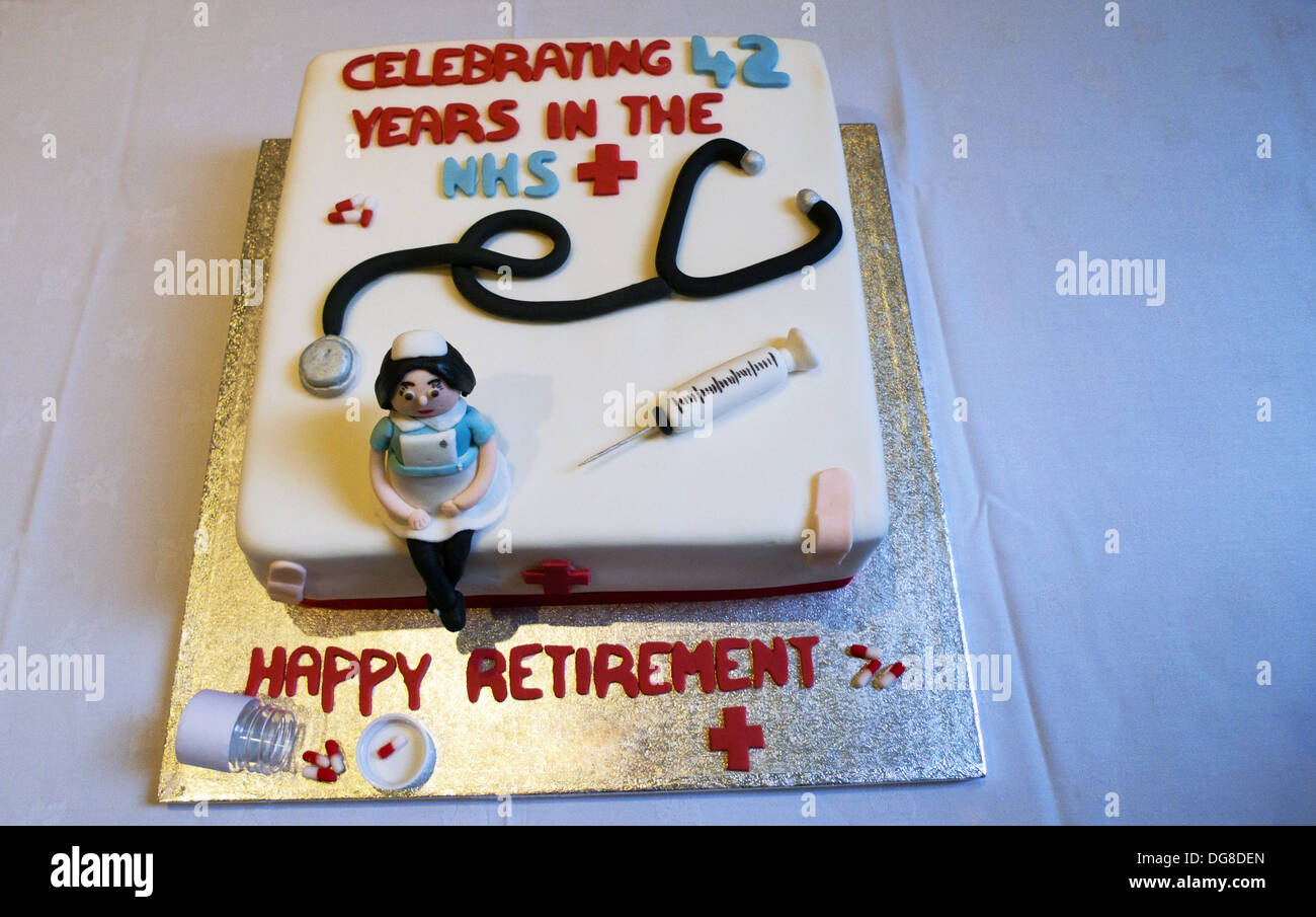 Retirement Cake Decorated With Nurse Hypodermic Needle And Stock