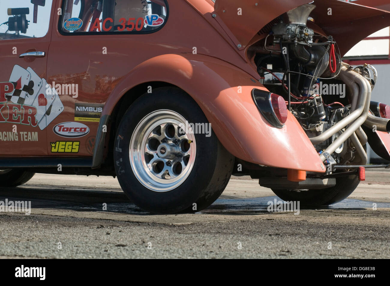vw drag car beetle dragster dragsters race racing volkswagen rear engined turbo turbocharged flat four 4 strip track acceleratio - Stock Image