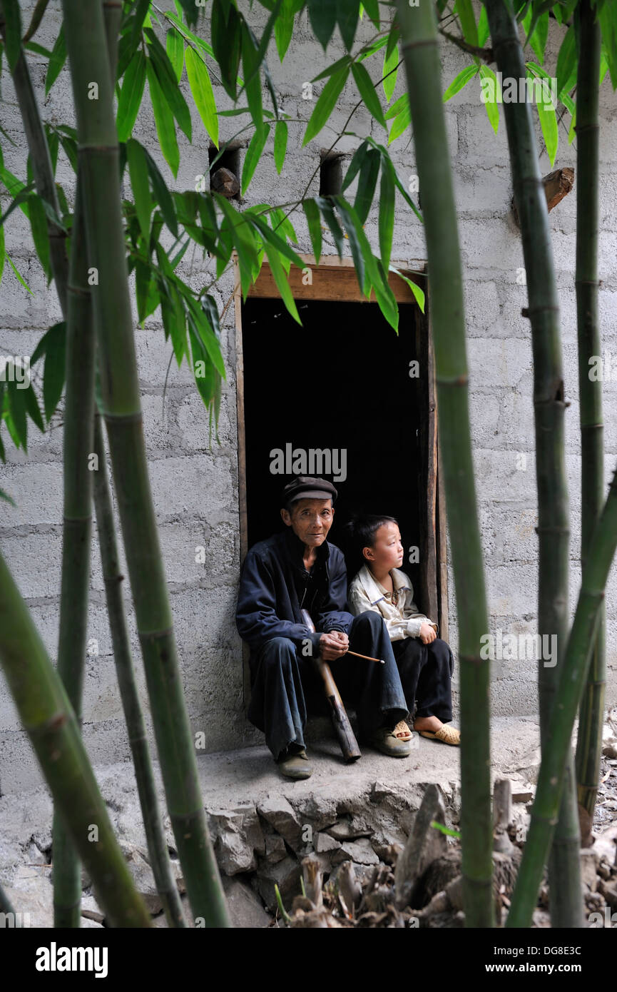 father and his son,hamlet around Sa Phin,Dong Van plateau,Ha Giang province,northern Vietnam,southeast asia - Stock Image