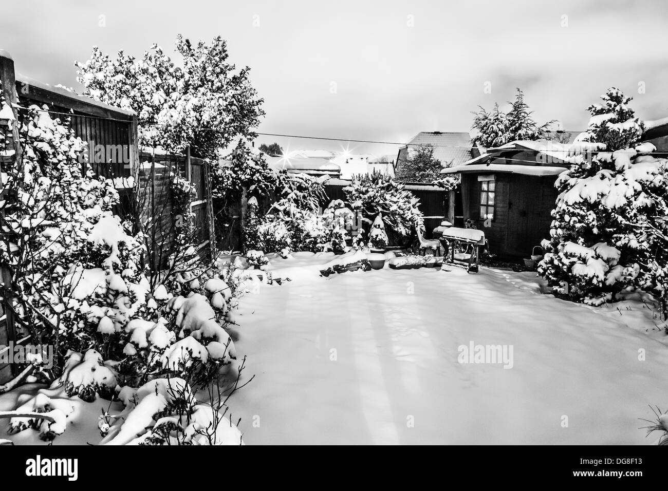 Snow Fall on English Cabin in the United Kingdom. - Stock Image